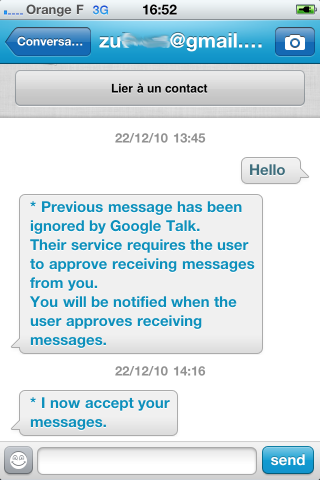 Gtalk friend has accepted you as a contact on TextOne